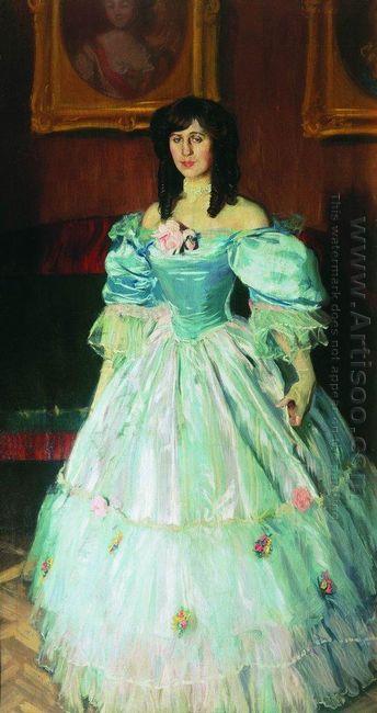 Portrait Of A Woman In Blue Portrait P Sudkovskaya 1906