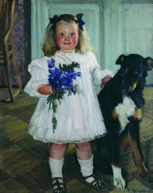 Portrait Of Irina Kustodiev With The Dog Shumka 1907