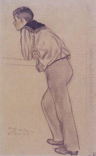 Portrait Of K B Kustodiev 1917