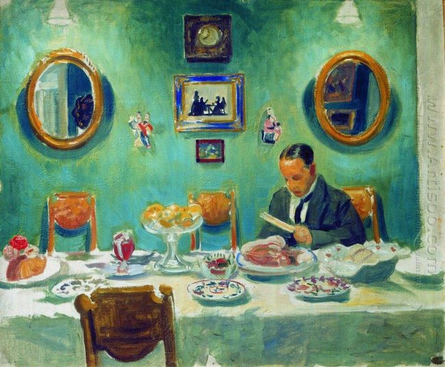 Portrait Of M V Dobuzhinsky At The Table 1913