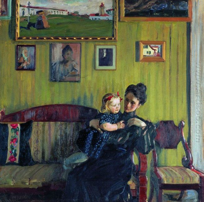 Portrait Of Y E Kustodieva With Daughter Irina 1908