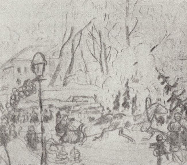 Preparatory Drawing For The Painting Christmas Bargain 1918