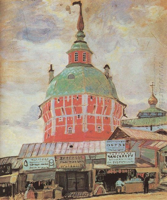 Red Tower Of Troitse Sergeevsky Lavra 1912