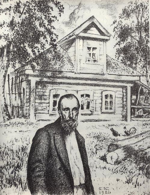 S P Podyachev In His Hut In The Village Obolyaninove 1926