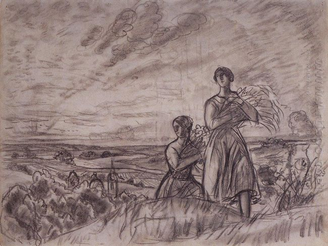 Summer Landscape With Women