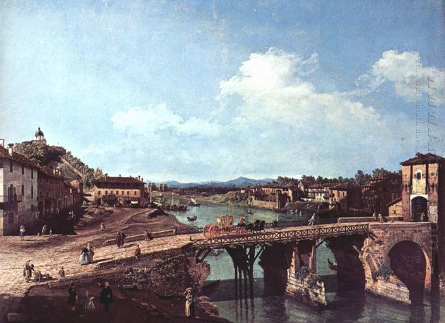View Of An Old Bridge Over The River Po Turin 1745