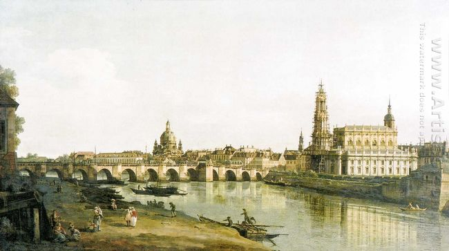 View Of Dresden From The Right Bank Of The Elbe With The Augustu