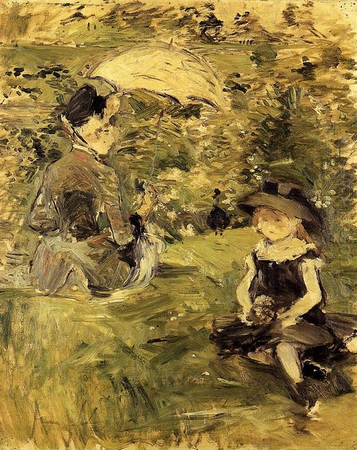 Young Woman And Child On An Isle