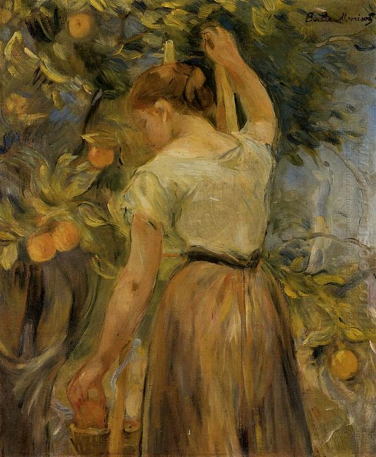 Young Woman Picking Oranges