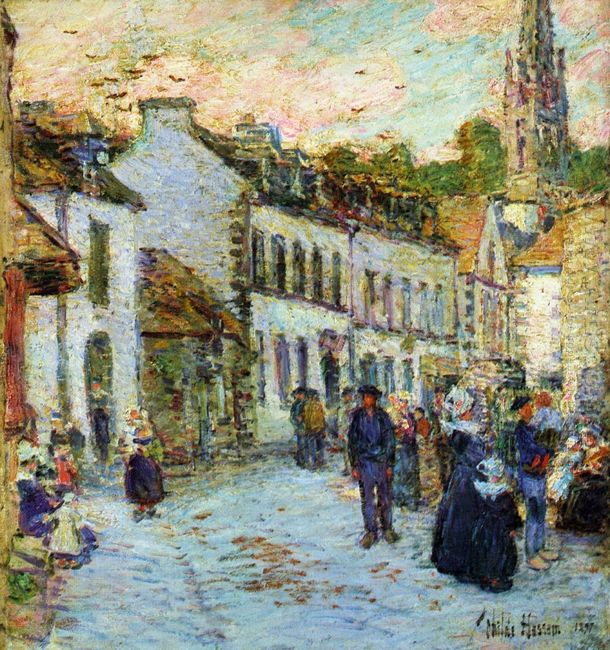 An Evening Street Scene Pont Aven
