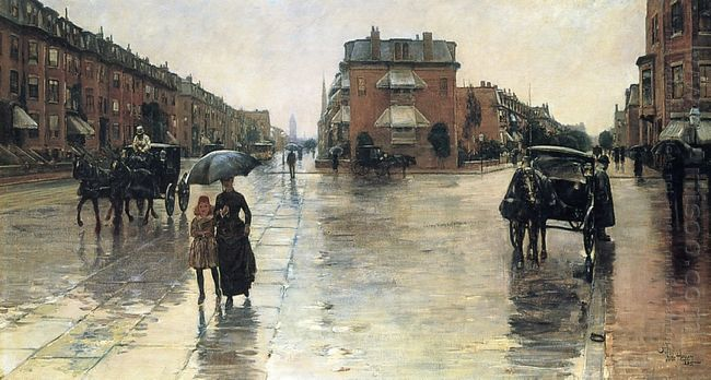 A Rainy Day In Boston 1885