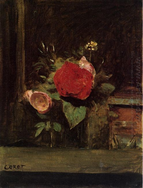 Bouquet Of Flowers In A Glass Beside A Tobacco Pot