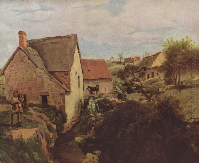 Cabins With Mill On The River Bank 1831