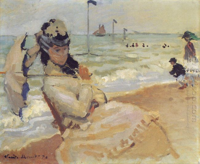 Camille On The Beach At Trouville