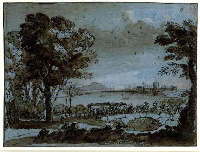 Coast Scene With A Battle On A Bridge 1