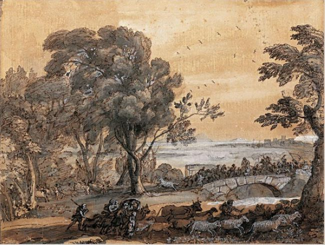 Coast Scene With A Battle On A Bridge