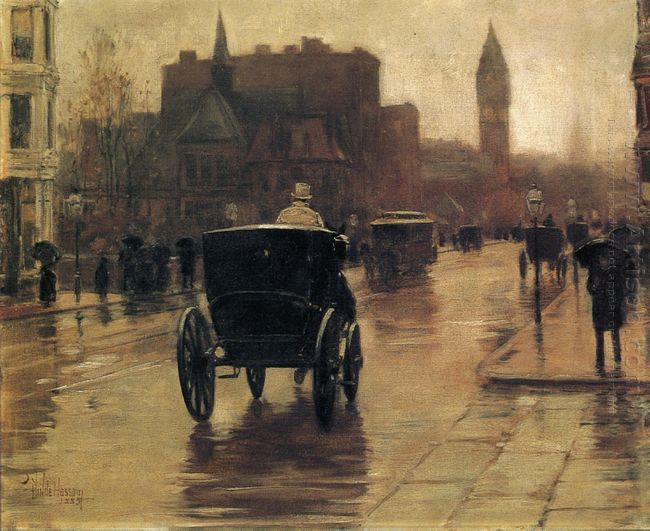 Columbus Avenue Rainy Day 1885