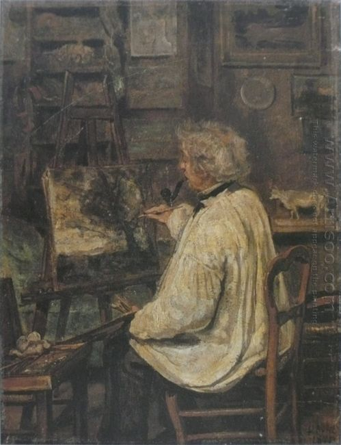 Corot Painting In The Studio Of His Friend Painter Constant Duti