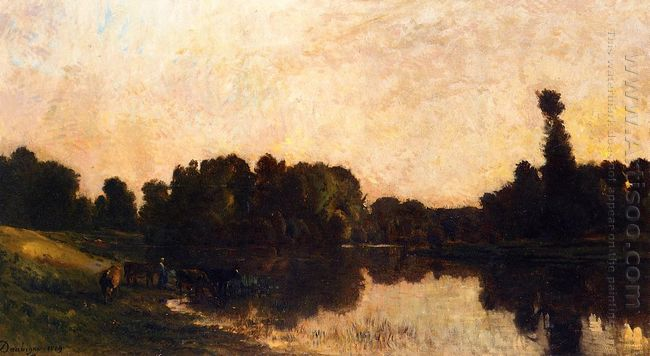 Daybreak The Oise Ile De Vaux 1869