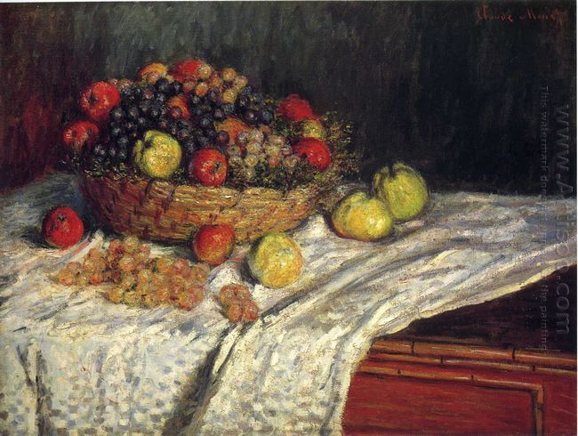 Fruit Basket With Apples And Grapes