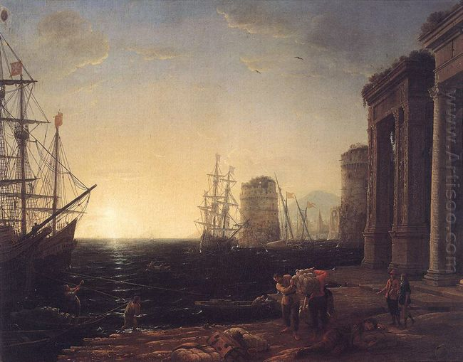 Harbour Scene At Sunset 1643