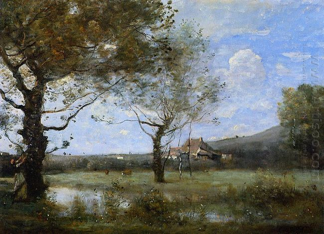 Meadow With Two Large Trees 1870
