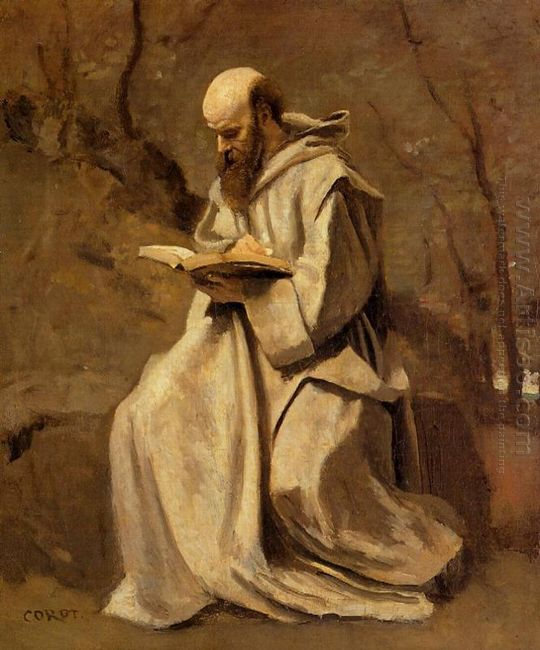 Monk In White Seated Reading