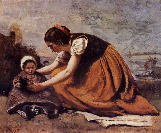 Mother And Child On The Beach 1860