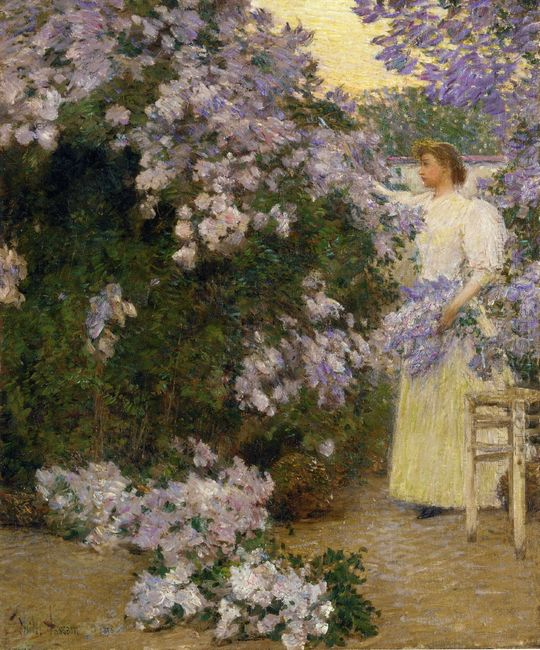 Mrs Hassam In The Garden 1