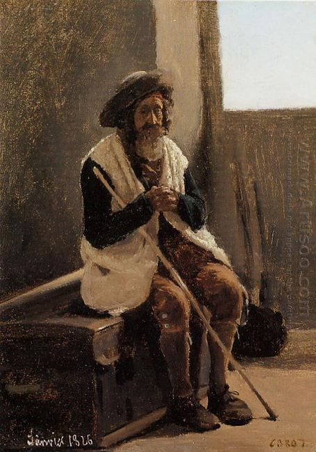 Old Man Seated On Corot S Trunk 1826