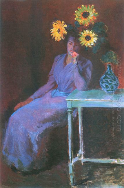 Portrait Of Suzanne Hoschede With Sunflowers