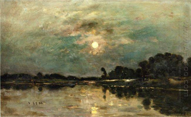 Riverbank In Moonlight 1875