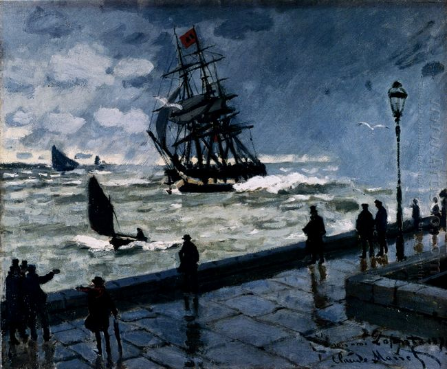 The Jetty At Le Havre Bad Weather 1870