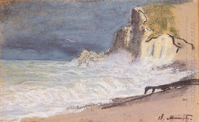 The Manneport Etretat Amont Cliff Rough Weather 1886