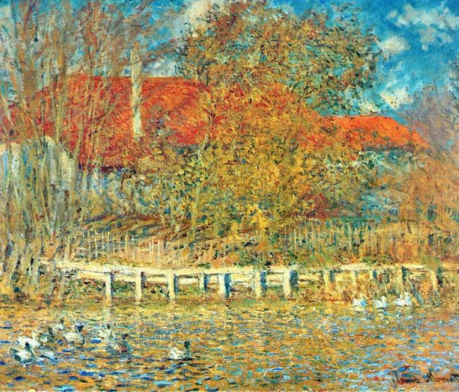The Pond With Ducks In Autumn