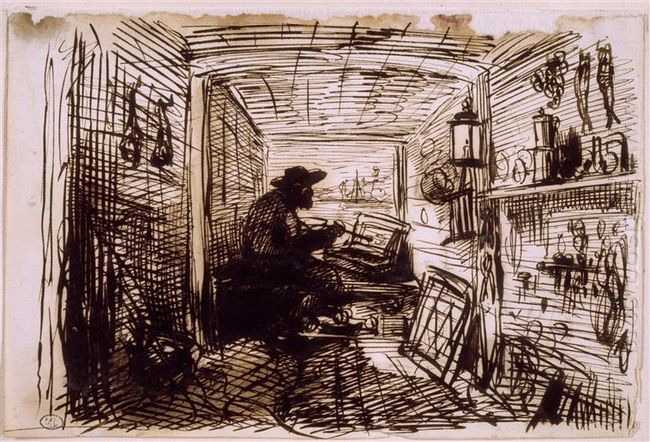 The Studio On The Boat 1861