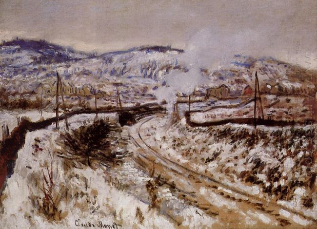 Train In The Snow At Argenteuil 1875