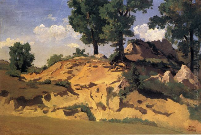 Trees And Rocks At La Serpentara 1827