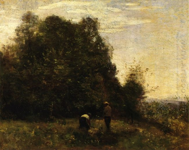 Two Figures Working In The Fields