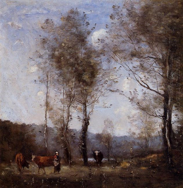 Ville D Avray Cowherd In A Clearing Near A Pond 1872