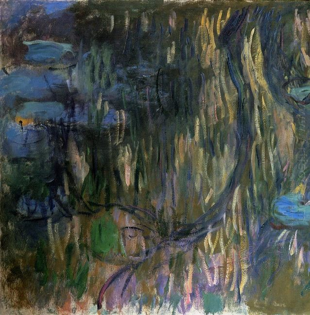 Water Lilies Reflections Of Weeping Willows Left Half 1919