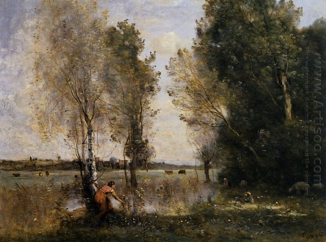 Woman Picking Flowers In A Pasture