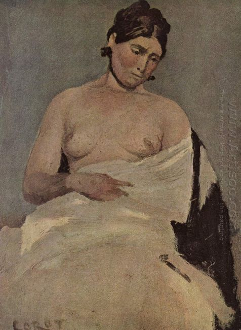 Woman Sitting With Nude Breasts