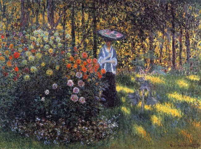 Woman With A Parasol In The Garden In Argenteuil
