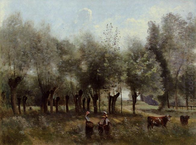 Women In A Field Of Willows 1865