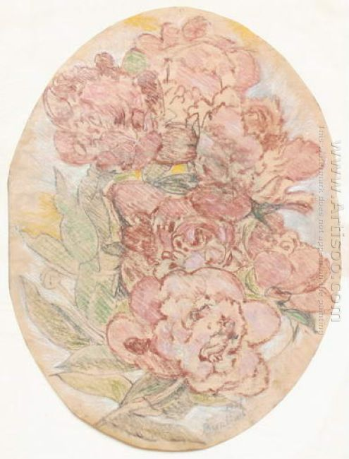 A Draft For Embroidery Peonies 1937
