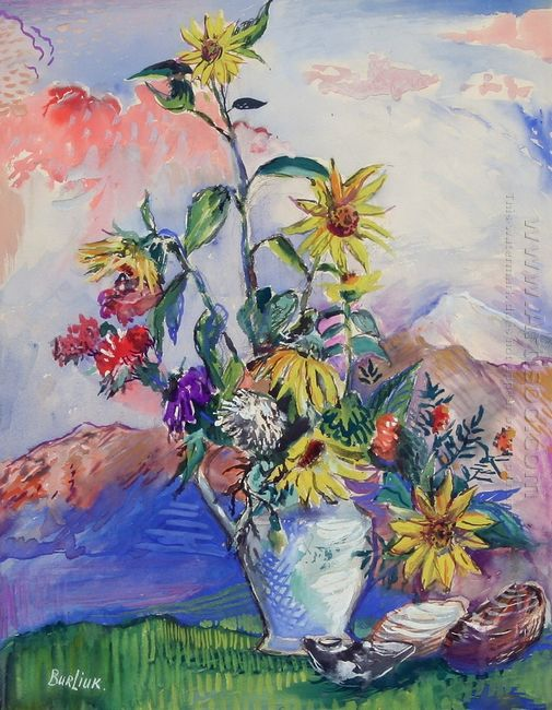 Flowers And Seashells In A Mountain Landscape