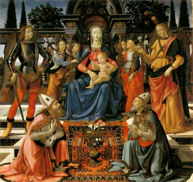 Madonna And Child Enthroned With Four Angels The Archangels Mich