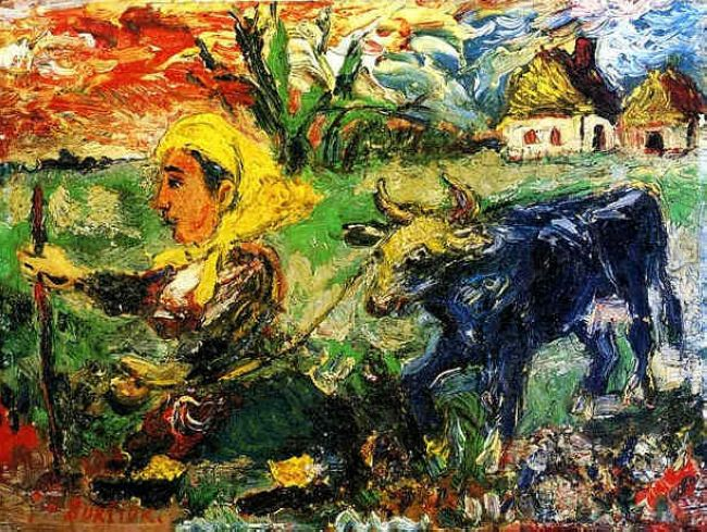 Peasant Woman With A Blue Cow