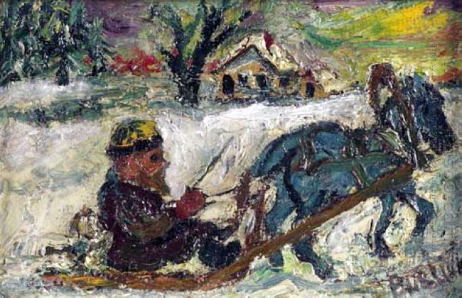 Russian Man On Sled Pulled By Horse